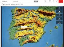 Imagen del mapa de España en relieve realizado por Jesús del CEIP PABLO IGLESIAS
